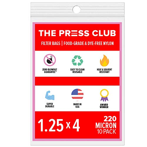 220 Micron | Premium Nylon Tea Filter Press Screen Bags | 1.25' x 4' | 10 Pack | Zero Blowout Guarantee | All Micron & Sizes Available