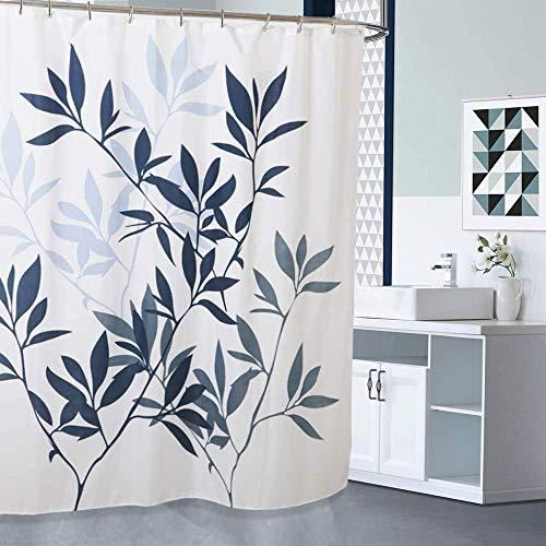Duschvorhang mit Metallhaken, 182,9 x cm dick, strapazierfähiges Gewebe, Badezimmer-Duschvorhang-Set Haken, kein chemischer Geruch, rostwiderstandsfähige Ösen, moderne Heimdekorationen, blaue Blätter