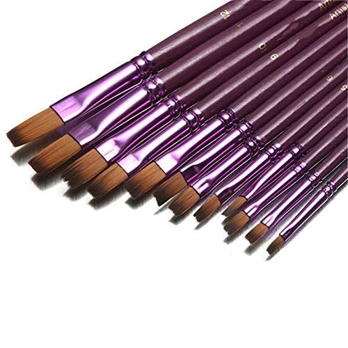 WH-IOE Sets de pinceaux de Peinture 12pcs Tip Flat Round Tip Peinture Brosses Artiste Nylon Cheveux Aquarelle Huile Dessin Pen Violet Peinture à l'huile pour Aquarelle (Color : Purple, Size : 2)