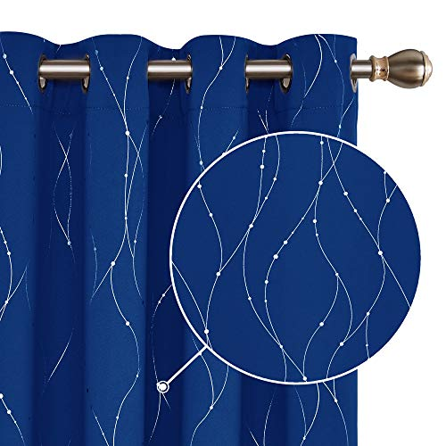 Deconovo Cortina Opaca para Ventana Dormitorio Juvenil para Habitacion Matrimonio Diseño Hilos Plateado con Ojales 2 Paneles 140 x 260 cm Azul Oscuro
