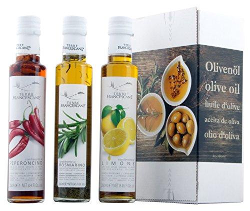 3er Probier-Paket Terre Francescane - Extra Natives Olivenöl Dressing mit Limonen, Rosmarin und Chili (3 x 250 ml)