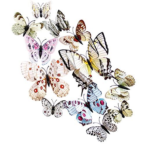 Kamiya 24 piezas 3D Mariposas Decorativas Blanco,mariposa pegatinas pared decorativas 3d,Mariposas decorativas con imán y pegatina, decoración para paredes y ventanas así como mobiliario de interior