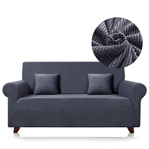 Funda para sofá elástica de Tela Ajustable… (Gris Oscuro, 3_plazas)