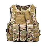 AKARMY Outdoor Tactical Vest, Camo Airsoft Paintball Vest, Adjustable Vest with Removable Pouch CP Camo XN
