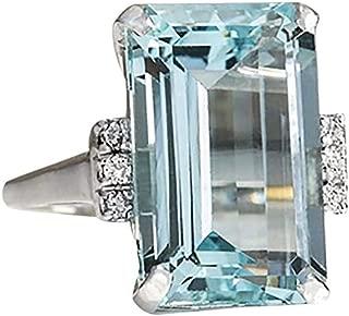 Aunimeifly Women Vintage 925 Silver Aquamarine Gemstone Ring Wedding Jewelry Engagement Rings