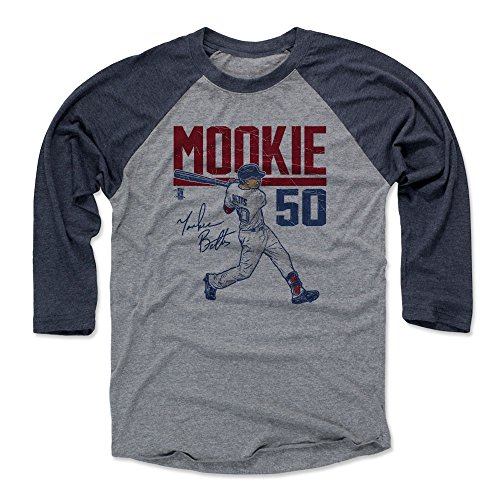 500 LEVEL Mookie Betts Tee Shirt (Baseball Tee, X-Large, Navy/Heather Gray) - Boston Raglan Tee - Mookie Betts Hyper R