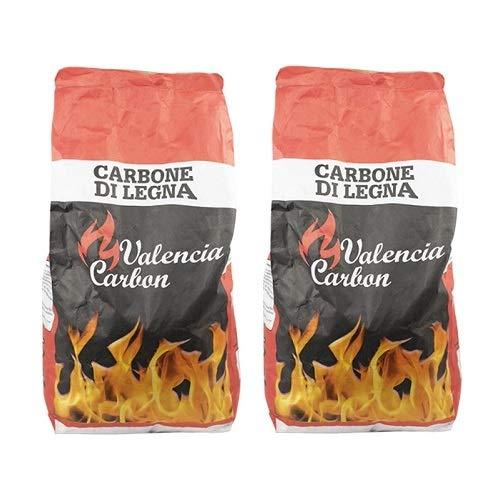 VIRSUS 2 Sacchi di Carbone di Legna da 2,5 kg Netti cadauno Puro Carbone per Barbecue, Grill, Grigliata o Barbecue da Tavolo Senza Fumo