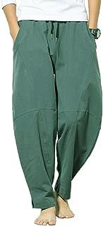 Banana Bucket Men's Casual Baggy Pants Drawstring Cotton Loose Harem Pants Black