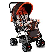5 point safety harness to secure your child safely in the stroller Reversible handlebar - Allows baby to face parent while strolling 3 position Seat recline for baby's comfort I Carrying Capacity up to 15 kgs Detachable Soft, Washable Seat Cushions I...