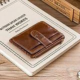 Titular de la Tarjeta de Cremallera RFID de Cuero Genuino Cartera de Carrito de crédito Mini Billetera Delgada titulares de Tarjetas de identificación Hombre de Negocios-marrón