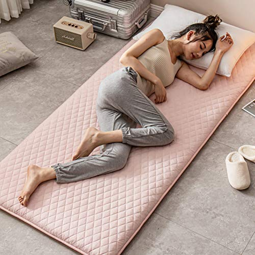 JR%L Not-slip Quilted Mattress Toppers, Solid Color Japanese Floor Futon 100% Cotton Bed Roll Tatami Mattress Topper Sleeping Pad-b 150x190cm