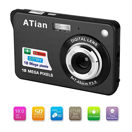"""ATian 2.7"""" LCD HD Digital Camera Amazing Rechargeable Camera 8X Zoom Digital Camera Kids Student Camera Compact Mini Digital Camera Pocket Cameras"""