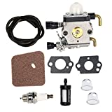 HIFROM Carburetor carb with Air Fuel Filter Spark Plug Fuel Line Filter Replacement for Zama C1Q-S66 C1Q-S71 Stihl FS38 FS45 FS46 FS55 FS55R KM55 FC55 FS74 FS75 FS76 FS80 FS85 FS310 Trimmers