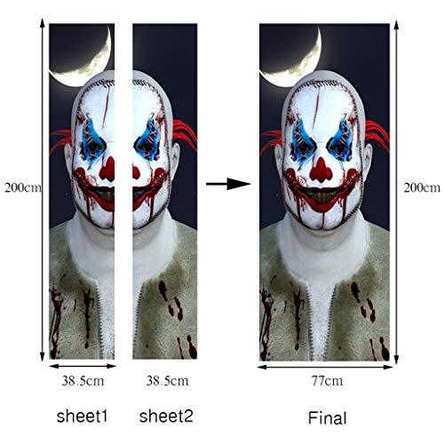 GLY Halloween énorme Horreur Joker Stickers Porte, Clown Mur Decal fenêtre de Porte Décor Party Supplies, peler et Coller Papiers Peints Decal Papier Peint, 200x77cm, 2 PCS