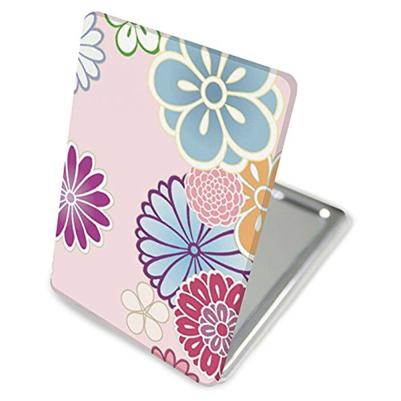 持ってる既婚アクロバット(カリーナ) Carine 手鏡 コンパクトミラー ハンドミラー 拡大鏡付 持ち歩きに便利 かわいい kgm014(A) 花柄 フラワー デザイン 和柄 和風 和花
