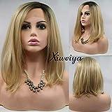 Xiweiya Rubia, oro rosa, gris, negro, rubio plateado, morado, rosa, rubio claro Bob peluca delantera de encaje sintético con fibra resistente al calor para mujer, 14 pulgadas