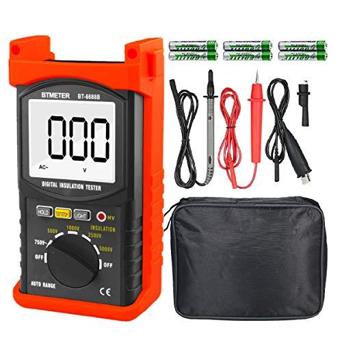 デジタル絶縁抵抗計 BTMETER BT-6688B 試験電圧5000V測定、最大750VのAC電圧、絶縁抵抗測定器200Gオーム、高電圧表示灯付き 日本語取扱説明書付き