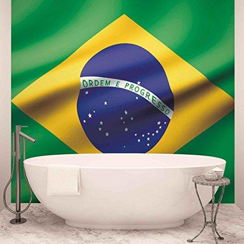 Flagge Brasilien - Forwall - Fototapete - Tapete - Fotomural - Mural Wandbild - (487WM) - XL - 254cm x 184cm - Papier (KEIN VLIES) - 2 Pieces