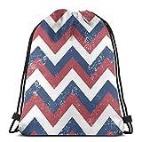 Lsjuee Fondo Abstracto en Zigzag con Bolsa con cordón de Estilo Grunge Mochila Escolar y de Viaje Adecuada para Adultos y niños