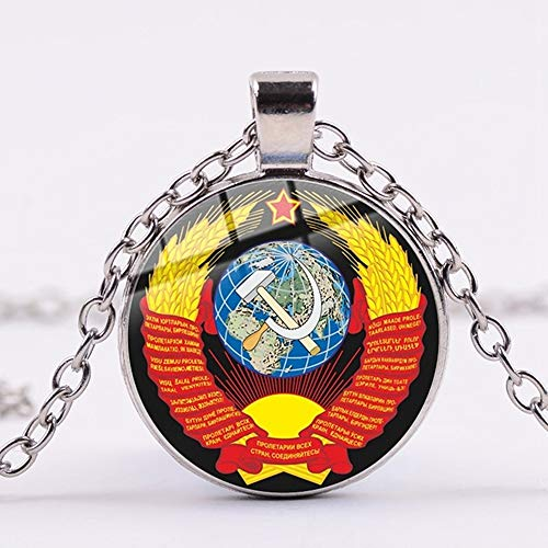 Klassische USSR Sowjetische Abzeichen Sichel Hammer Kette Halskette CCCP Russland Emblem Kommunismus Glaskunst Anhänger Halskette Frauen Männer