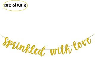 Glamoncha Sprinkled With Love Gold Glitter Banner Sign Garland for Baby Sprinkle,Baby Shower Decorations
