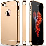 iPhone 5S Case, iPhone 5 Case, iPhone SE Case, COOLQO 3in1 Ultra-Thin Hard Matte Finish Plastic [Tempered Glass Screen Protector] Shockproof Electroplate Cover Skin for Apple iPhone 5SE (Gold)