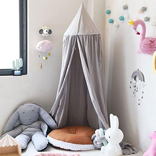 SevenD Baby Betthimmel Baldachin Baumwolle Rund Moskitonetz Insektenschutz Kinder Prinzessin Spielzelte Dekoration fürs Kinderzimmer (Grau)
