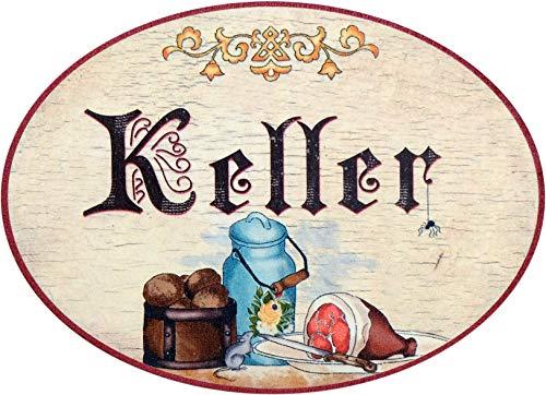 Kaltner Präsente Geschenkidee - Holz Geschenkartikel Deko Türschild im Antik Design Dekoartikel Motiv Keller (Ø 18 cm)