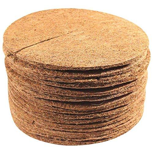Hapeisy 10 estera de coco para maceta, cubierta de la planta de disco, anillo de fibra de coco, mantillo, protector de árbol, para control de malas hierbas, cubierta de plantas, maceta de flores