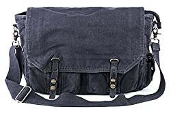 """✔ MATERIAL - Made of heavy-duty canvas, lined with soft cotton fabrics, this messenger bag was endowed with durable performance. Garment wash for the finished product adds soft and comfortable touch to it. ✔ DIMENSIONS - (L) 15"""" x (W) 4.7"""" x (H) 11"""";..."""