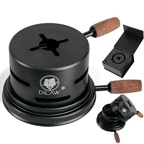 DILAW® Shisha UNO Smokbox | mit nur 1 Kohle | Kamin-aufsatz Aluminium Alu | Passt auf beinahe jeden Kopf | spart Kohlen | Länger Rauchen | für Tabakkopf Kohle Aufsatz | (Black)