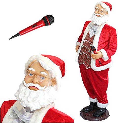 lux.pro Karaoke Weihnachtsmann 150cm Aufsteller mit Mikrofon Singt Tanzt und bewegt sogar Seine Lippen Weihnachten Nikolaus