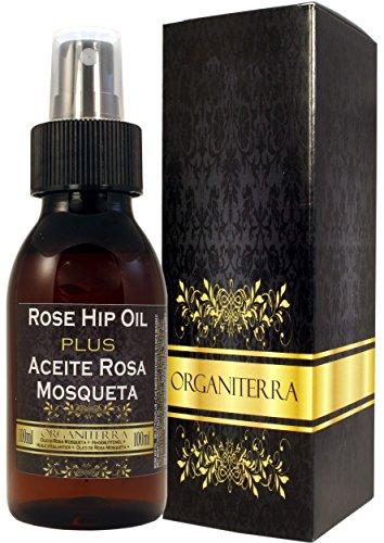 Olio di Rosa Mosqueta Plus by Organiterra. Unico Olio di rosa mosqueta di selezione speciale con parametri di qualità garantiti. Bottiglia 100 ml con spruzzo e rubinetto.