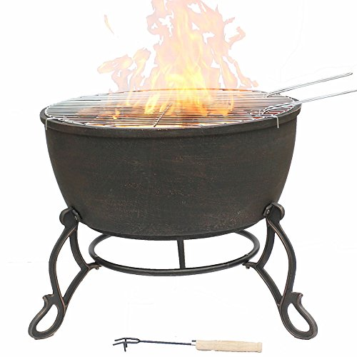 Gardeco Meredir Cast Iron fire Pit, Bronze, cm