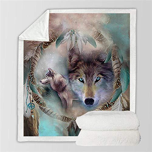LIFUQING New Wolf Coperta Uomo 3D Cartoon Sherpa Coperta Doppio Ispessito Velluto Caldo Super Morbido Velluto Ufficio Siesta Coperta Divano Biancheria da Letto-150x200cm