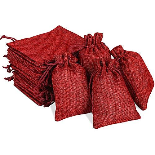 MQIAN 24 Stück weihnachtssäckchen, Weihnachten Geschenksäckchen Stoffbeutel, Jutesäckchen Rot Jute Beutel, Weihnachtskalender Tüten, Geschenktüten Set für Party Hochzeit Weihnachten