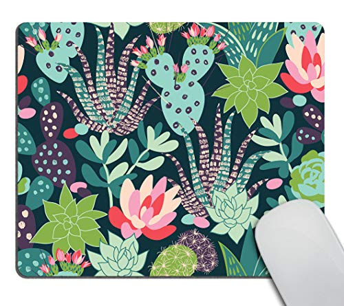 Smooffly Gaming Mouse Pad Custom,Trendy Tropical Succulents and Cactuses Mouse pad Customized Rectangle Non-Slip Rubber Mousepad