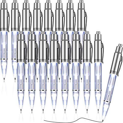 16 Stücke Beleuchtet Spitzen Stift LED Taschenlampe Beleuchten Stift Taschenlampe Schreiben Kugelschreiber Metall 2 in 1 LED Leuchtstift für Nacht Schreiben (Weißes Licht)