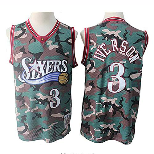 YB-DB Hombres Camiseta de la NBA Philadelphia 76ers # 3 Allen Iverson Camuflaje Jersey Retro, Unisex Camiseta sin Mangas,S (165~170cm)