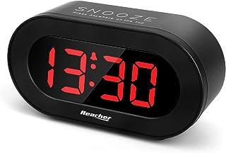 Reacher Réveil Numérique LED, Réveil Matin avec Fonction Snooze, 0-100% Luminosité Réglable, Port De Charge USB pour Télép...