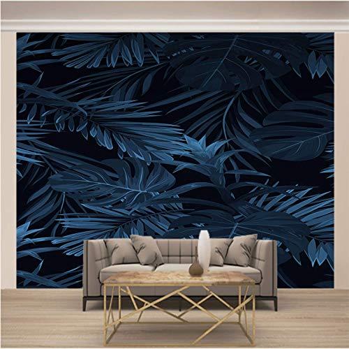 LucaSng Mural papel pintado - Azul oscuro hojas plantas - 3D Papel Pintado Pared Fotomurales Tejido No Tejido Foto Mural Moderna Diseño Murales Fotográfico Póster Salón Dormitorio Telón de Fondo Pared