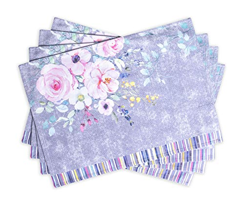 Maison d' Hermine Sweet Rose Lavender 100% Cotton Set of 4 Placemats for Dining Table | Kitchen | Wedding | Everyday Use | Spring/Summer | Dinner Parties (13 Inch by 19 Inch)