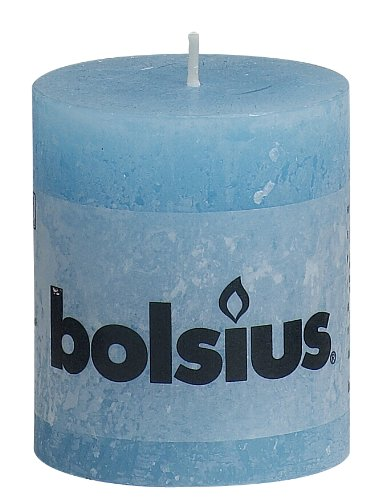 Bolsius - Vela cilíndrica de parafina, rústico, Azul, tamaño 8 cm, 1 unidad
