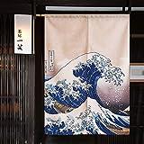 Be&xn Portada Japonesa de noren Cortina ukiyoe Hokusai la Gran Ola de Kanagawa Tapiz para la decoración de la Puerta y el hogar-B 90x150cm(35x59inch)