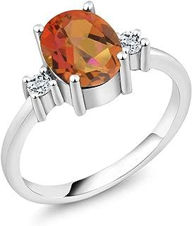Gem Stone King 2.46 Ct Oval Twilight Orange Mystic Quartz White Topaz 925 Sterling Silver Ring