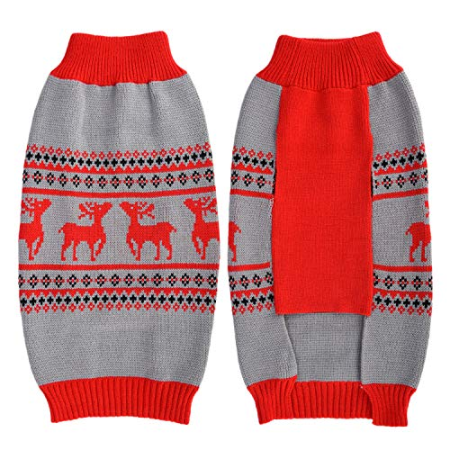 LuzPet Weihnachtspullover für Hunde, Kostüme, Hoodies, Winterkleidung, Hemden, Mäntel, Jacken (XXL, rot)