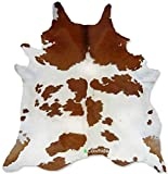eCowhides Brown and White Brazilian Cowhide Area Rug, Cowskin Leather Hide for Home Living Room (Large) 6 x 6 ft