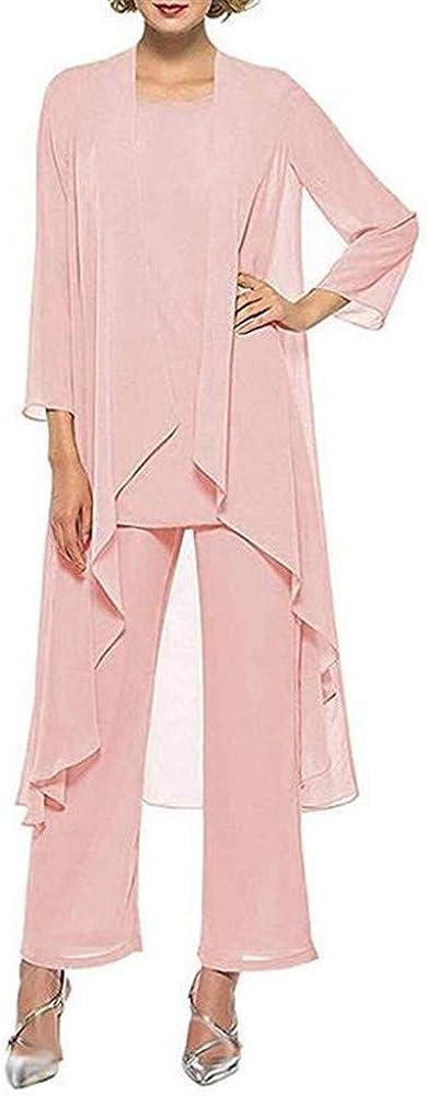 Honeydress Women's Chiffon Elegant Mother of The Bride Dresses Long Sleeve Three Piece Pant Suits