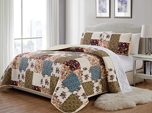 MK Home 3pc Full/Queen Bedspread Quilted Print Floral Beige Burgundy Purple Blue Taupe Over Size New # Milano 62