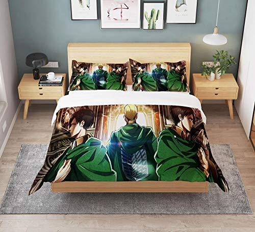 Attack on Titan Jogo de cama de anime desenho animado japonês King Size edredom colcha cama casal meninos criança 3D-A_140 x 200 cm